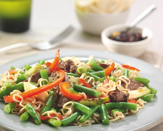 Beef strips in teriyaki sauce with noodles