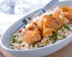 Teriyaki salmon and mint rice